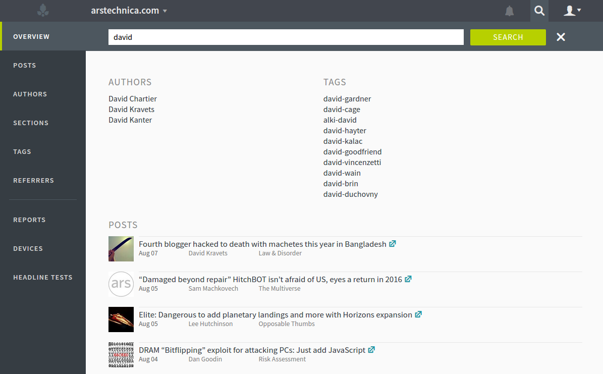 parsely dashboard search