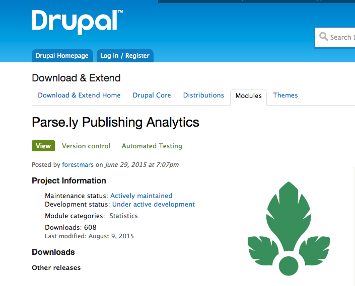 drupal, parse.ly