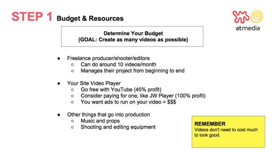 Tips for budgeting for video