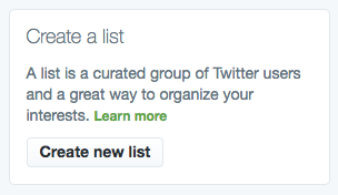 """Create a list"" button on Twitter"