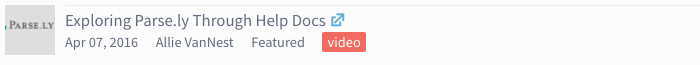 video icon - Exploring Parse.ly Through Help Docs
