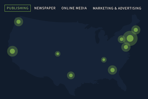 map of media jobs in the U.S.