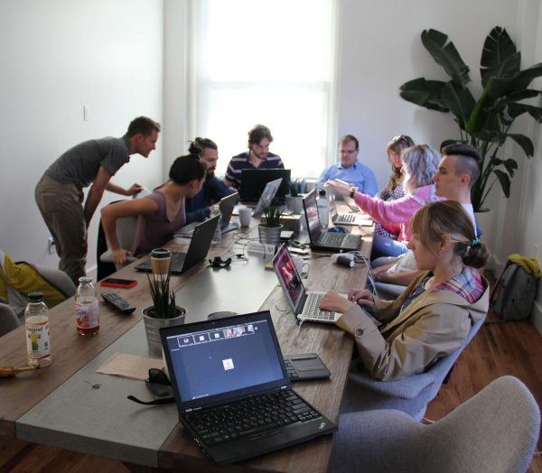 Parse.ly's product team meets during a retreat