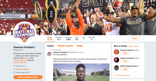 the Clemson Tigers football team Twitter account