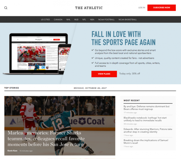 homepage for sports media outlet The Athletic