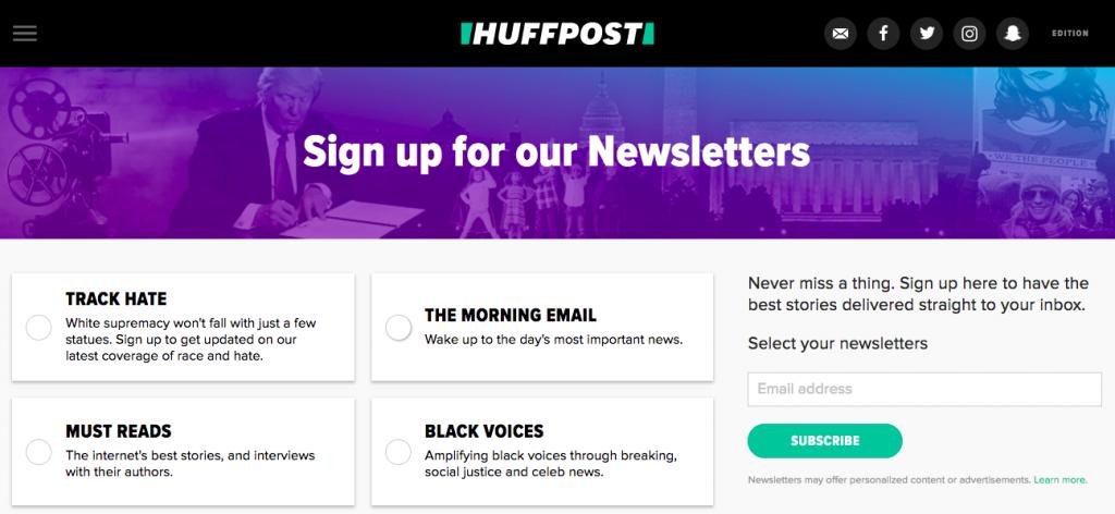 HuffPost newsletters
