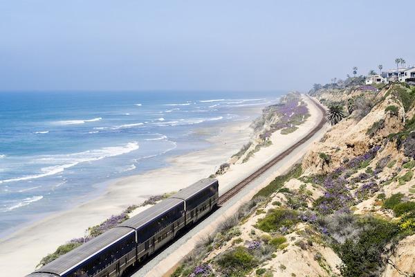 Amtrak train along the coast of California