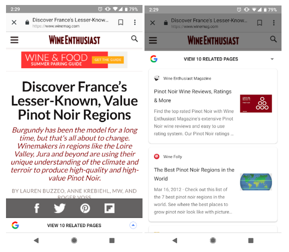 Google view related pages screen