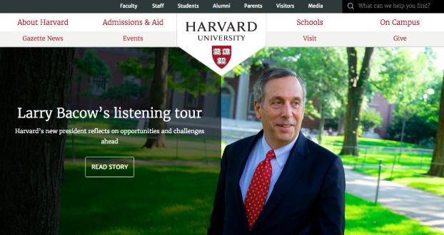 Harvard.edu homepage