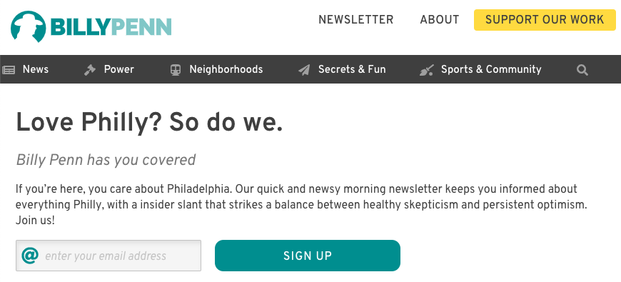 Billy Penn newsletter sign up
